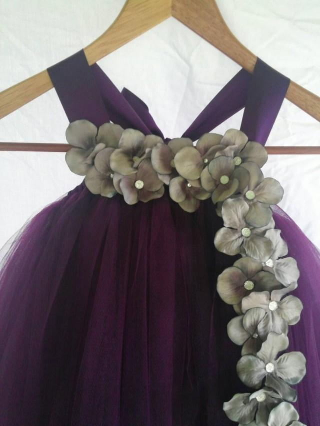 a4931be8183 Plum And Silver Flower Girl Dress