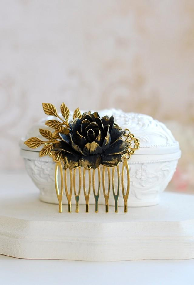 Black Flower Hair Comb Antique Gold Leaf Black Rose Hair