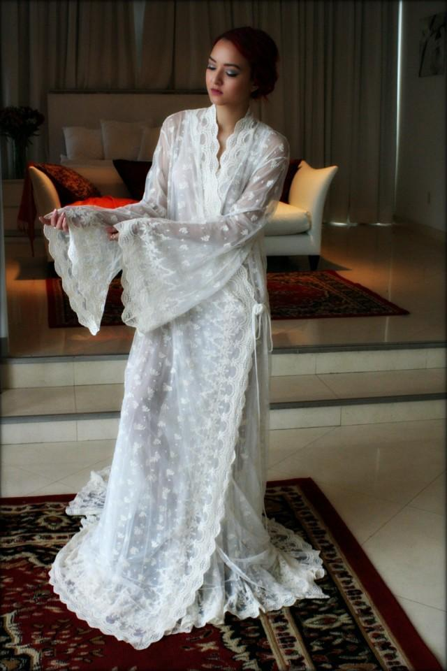 Embroidered Lace Bridal Robe French Lace Wedding Robe