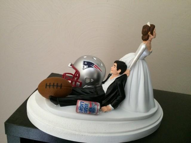 New England Patriots Wedding Cake Topper Bridal Nfl Funny