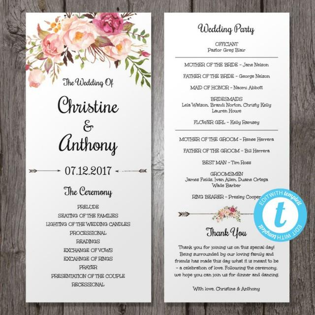 Floral Bohemian Wedding Program Template, Instant Download - Edit In Our Web App, Printable, Tea