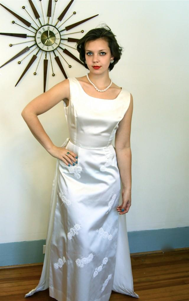 Vintage 1960s Ivory Satin Wedding Dress Long Column Sleeveless