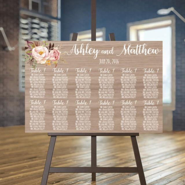 Wedding Seating Chart Printable Wood Guests List Printable – Guest Seating Chart Template