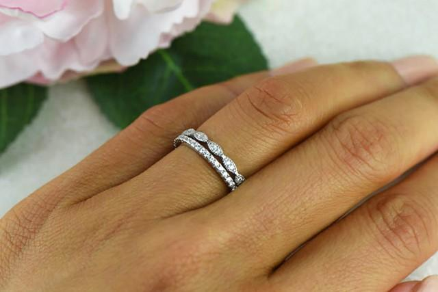 art deco wedding band and half eternity band delicate