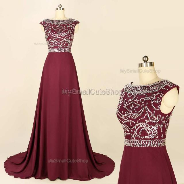 Burgundy Prom Dress Chapel Train Bridesmaid Dress Formal