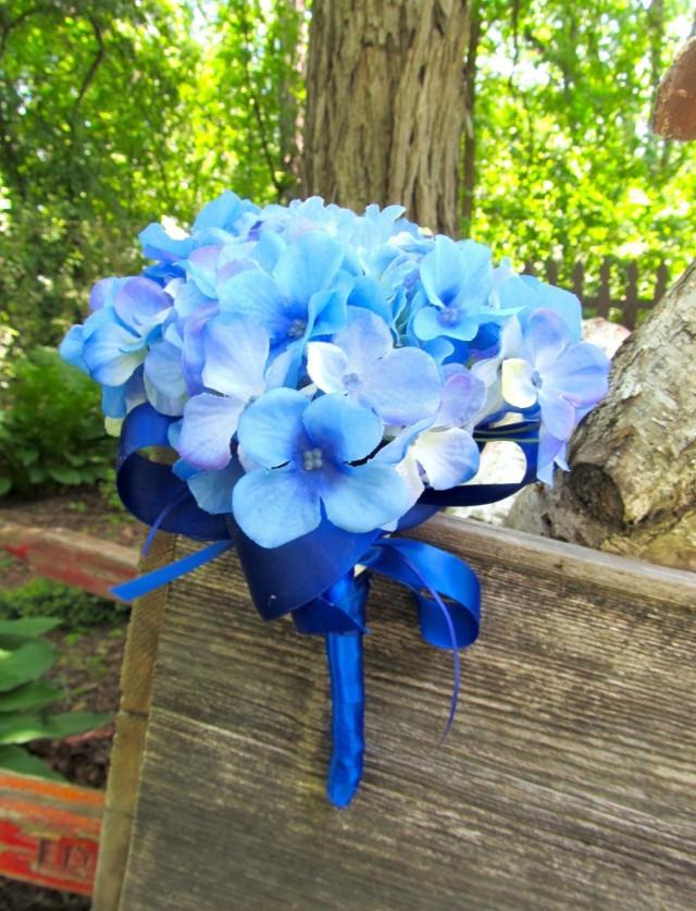 Blue Bridesmaid Bouquet. Hydrangea Wedding Bouquet. Blue Silk Bridal ...
