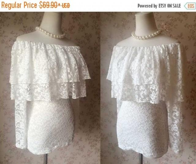 Chic Ivory White Lace Top Women Lace Shirts Custom