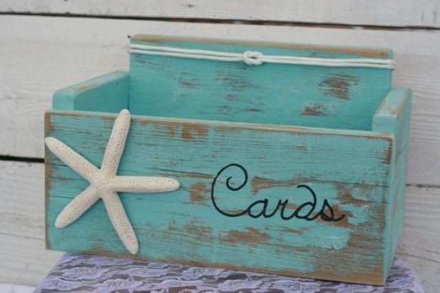Card Wedding Box Holder Distressed Beach Nautical Rustic Starfish With Nautical Knot Baby Shower