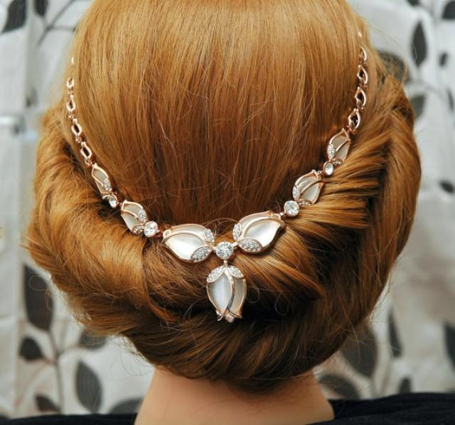 Rose Gold Headpiece Wedding Headband Tulip Flower Hair Piece Rose Gold  Jewelry Cats Eye Jewelry Hair Chain Headpiece  2523965 - Weddbook 202cfbda9a2