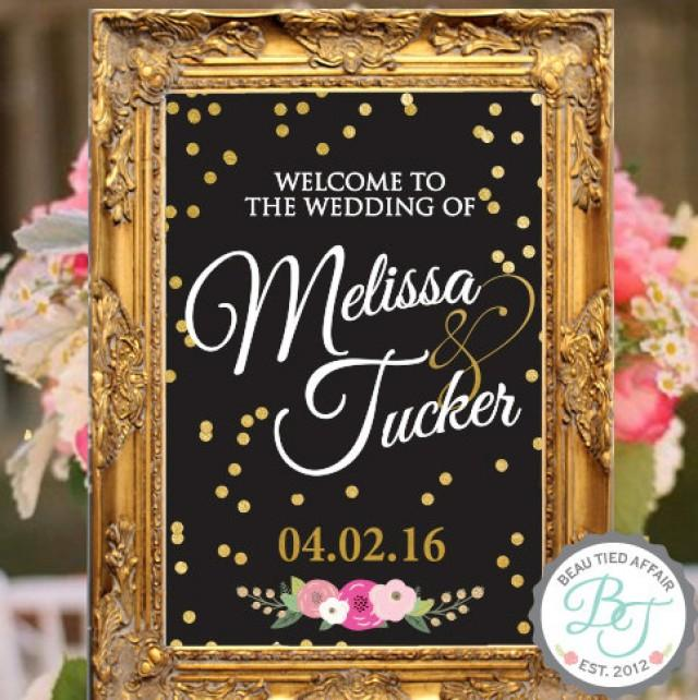 Black And Gold Wedding Reception Decorations: Gold Confetti BLACK Wedding Welcome Sign • Gold Wedding
