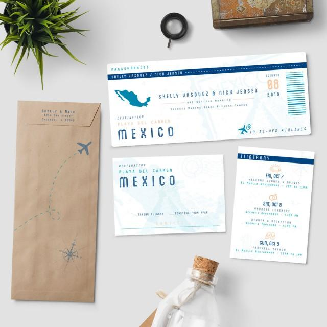 "Plane Ticket Wedding Invitations: Boarding Pass Destination Wedding Invitation Suite, ""To Be"