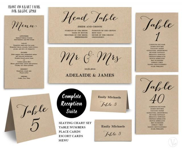 Printable wedding seating chart template plus table for Table numbers for wedding reception templates