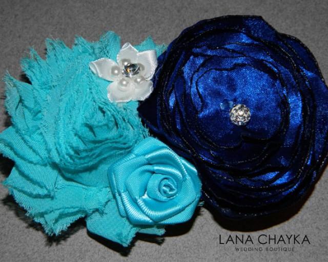 Flower Hair Clip Fascinator Navy Blue Ivory Small Fl Head Piece Wedding Clips Accessories 2525058