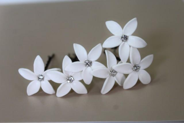 Small white flowers for hair flowers healthy white jasmine flower accessories hair pin set of 6 jasmine wedding hair accessories wedding hair flower mightylinksfo
