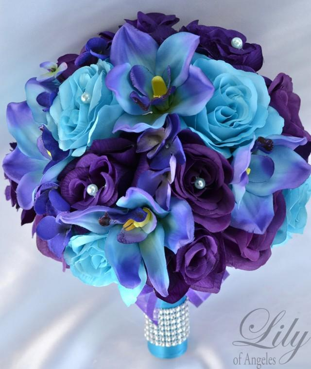 Purple And White Wedding Flower Bouquets: 17 Piece Package Wedding Bridal Bouquet Silk Flowers