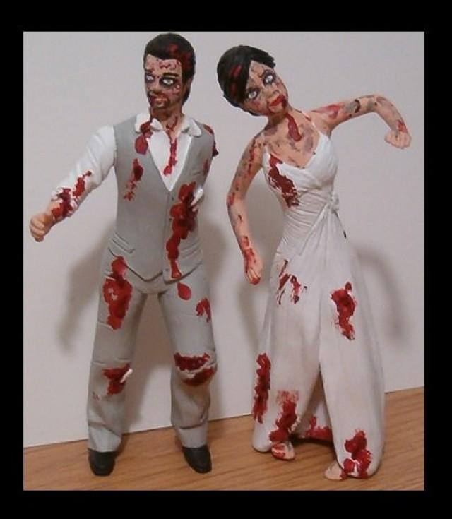 Custom Zombie Wedding Cake Toppers Figure Set Personalized To Look Like Bride Groom From Your Photos 2525680 Weddbook