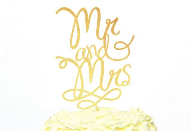 Mr and mrs cake topper modern calligraphy