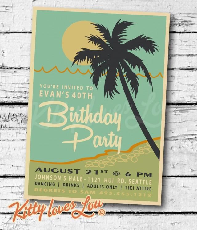PRINTABLE Birthday INVITATION Digital PDF Retro Hawaiian