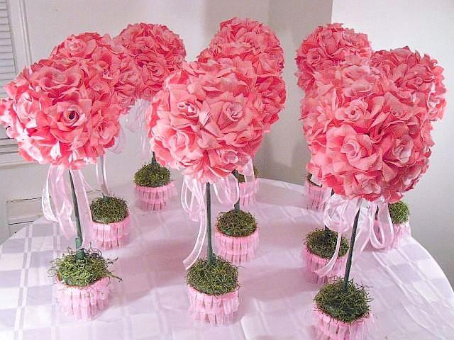 10 ten pink rose topiaries silk flower table centerpieces made 10 ten pink rose topiaries silk flower table centerpieces made to order wedding flowers 2526379 weddbook mightylinksfo