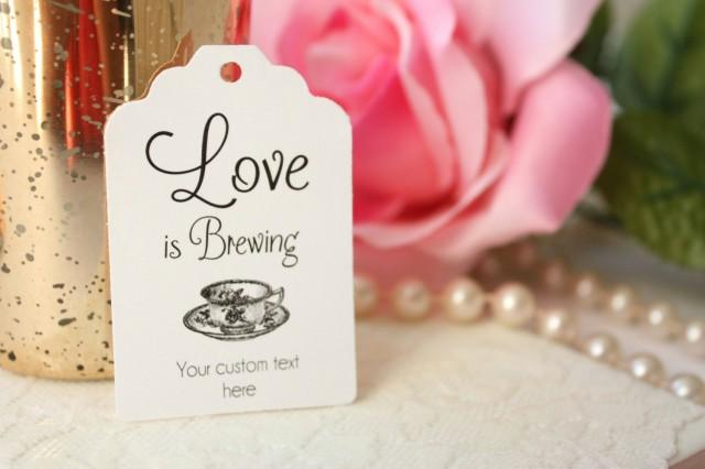 Love Is Brewing Favour Tag, Tea Cup Bridal Shower Tag