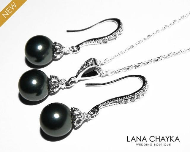 Black Pearl Earrings And Necklace Set Sterling Silver Cz Drop Swarovski 8mm Earring Wedding Jewelry 2526434