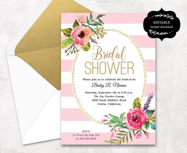 Blush pink floral bridal shower invitation template printable bridal shower invitation instant for Bridal shower invitations printable