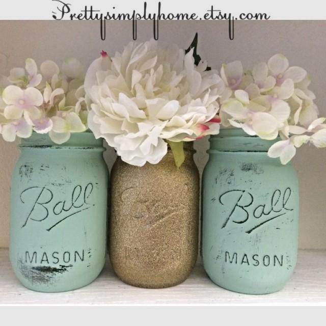 Wedding Flowers In Mason Jars: Glitter Mason Jar Set, Wedding Centerpieces, Shower