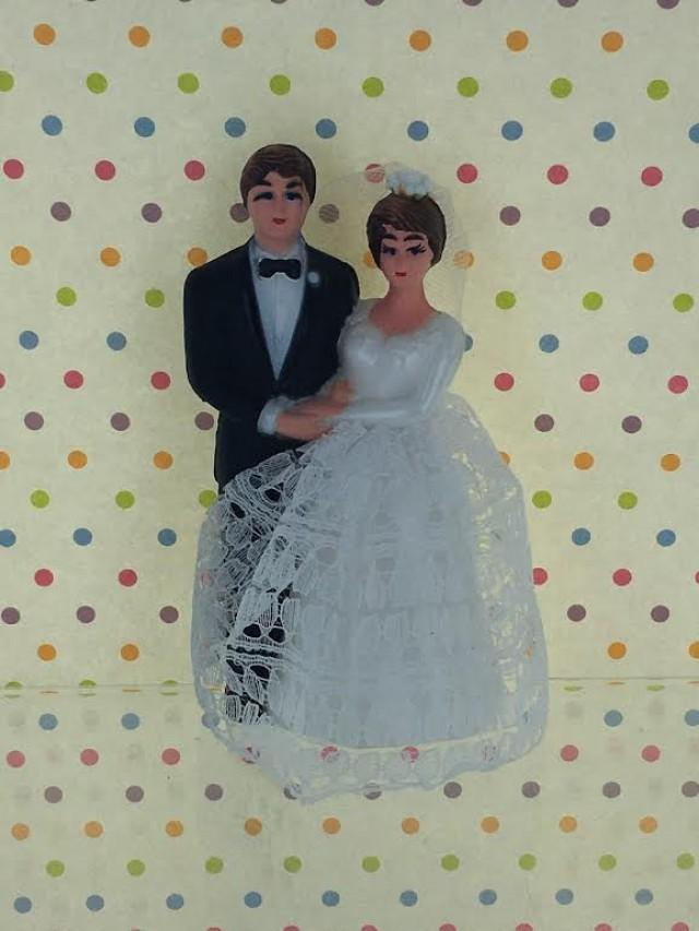 Vintage Retro Bride Groom Cake Topper Traditional Wedding Couple From 1960s Lace Dress Style 2526918