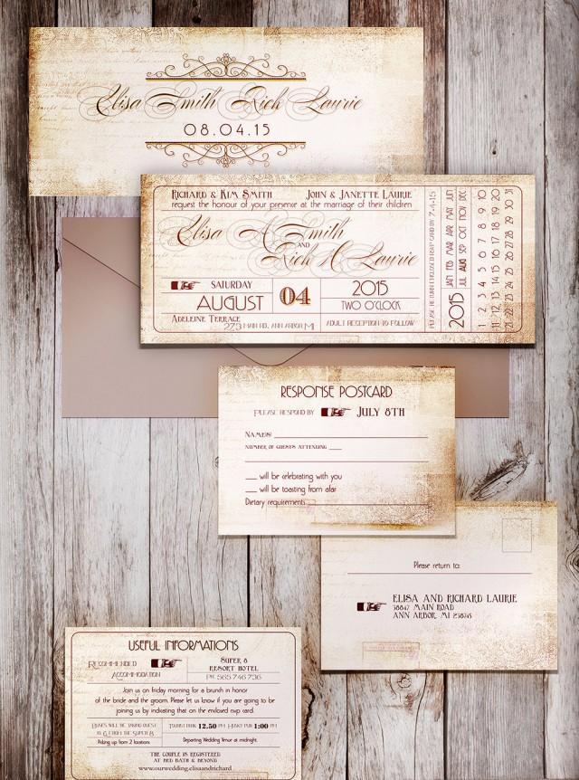 ticket stub printable wedding invitation ticket stub