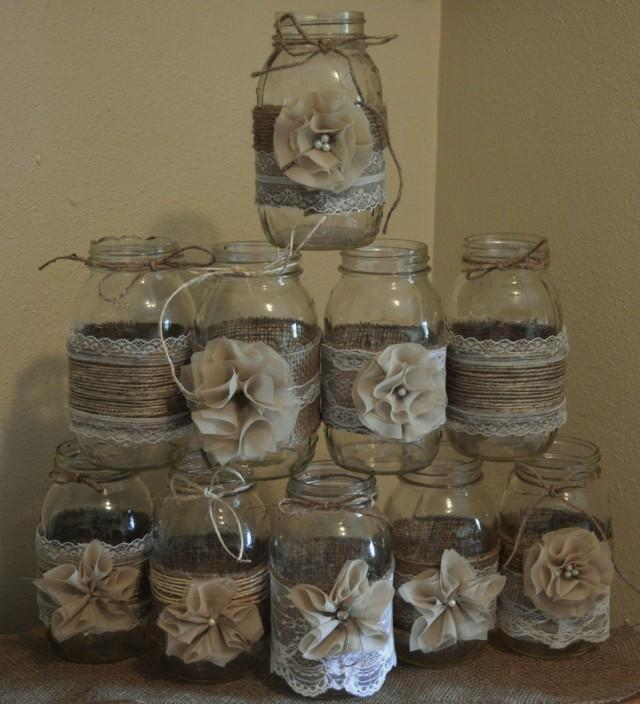 Rustic Jars For Wedding: Set Of 10 Mason Jar Sleeves, Burlap Wedding Decorations