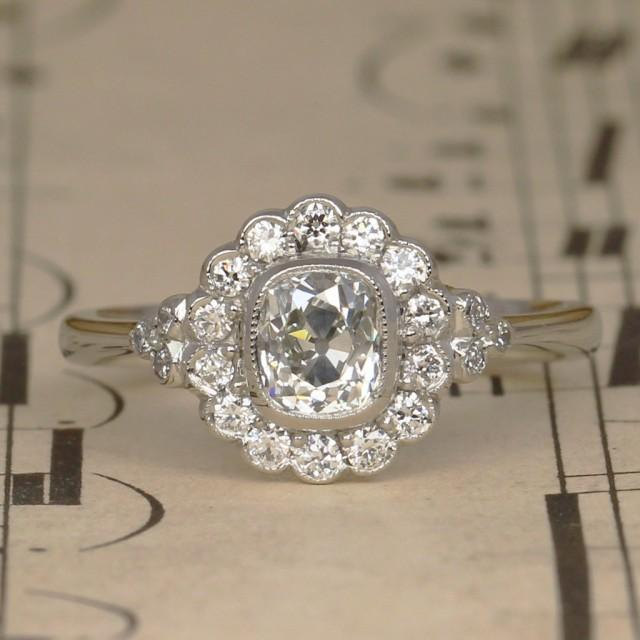 Art Deco Old Cushion Cut Diamond Halo Engagement Ring