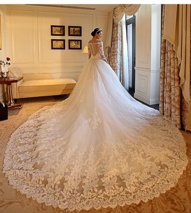 Sheer Lace Applique Long Sleeve Wedding Dress V Neck: 2016 Sexy Illusion Backless Long Sleeve Luxury V Neck