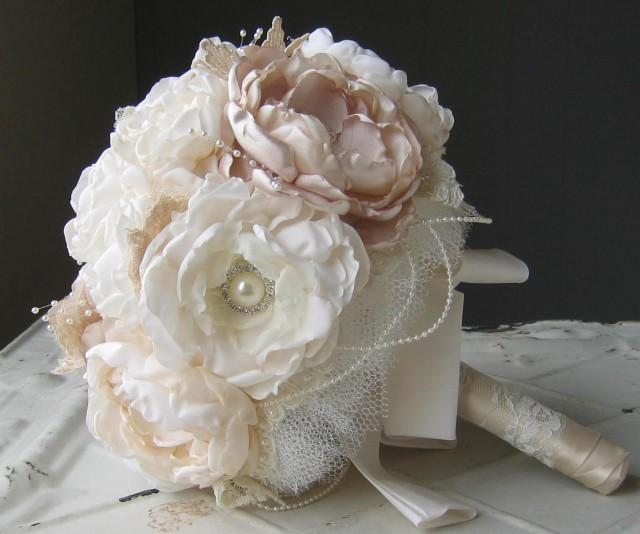 Fabric Flower Brooch Wedding Bouquet From Mothers Wedding Dress