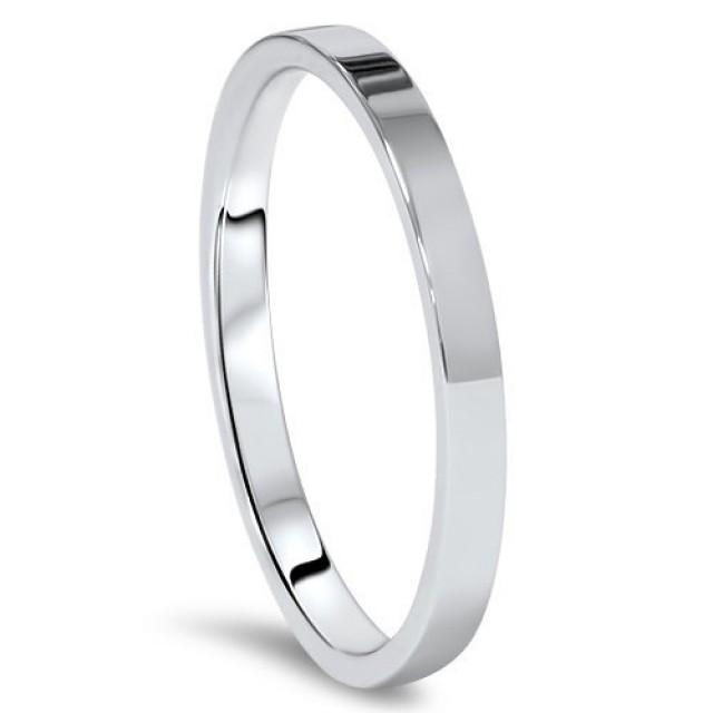 New 10K Solid White Gold 2mm Flat Mens And Womens Wedding Band Ring Sizes 4 14 High Polished Stackable US Made Thumb Knuckle Rings 2527716