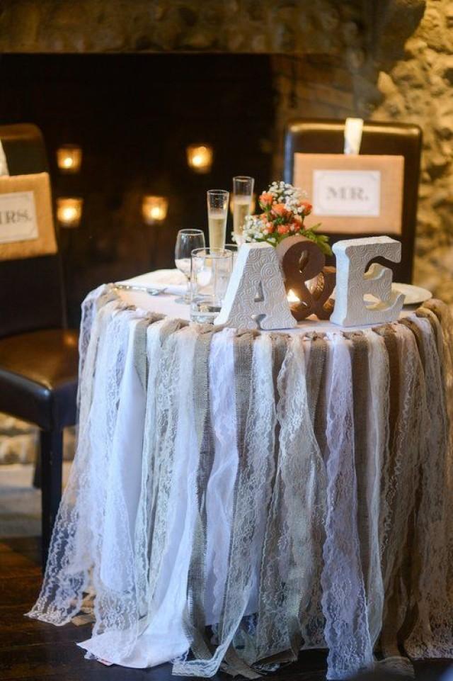 Wedding theme lace and burlap garland 2527908 weddbook for Shabby chic garland lights