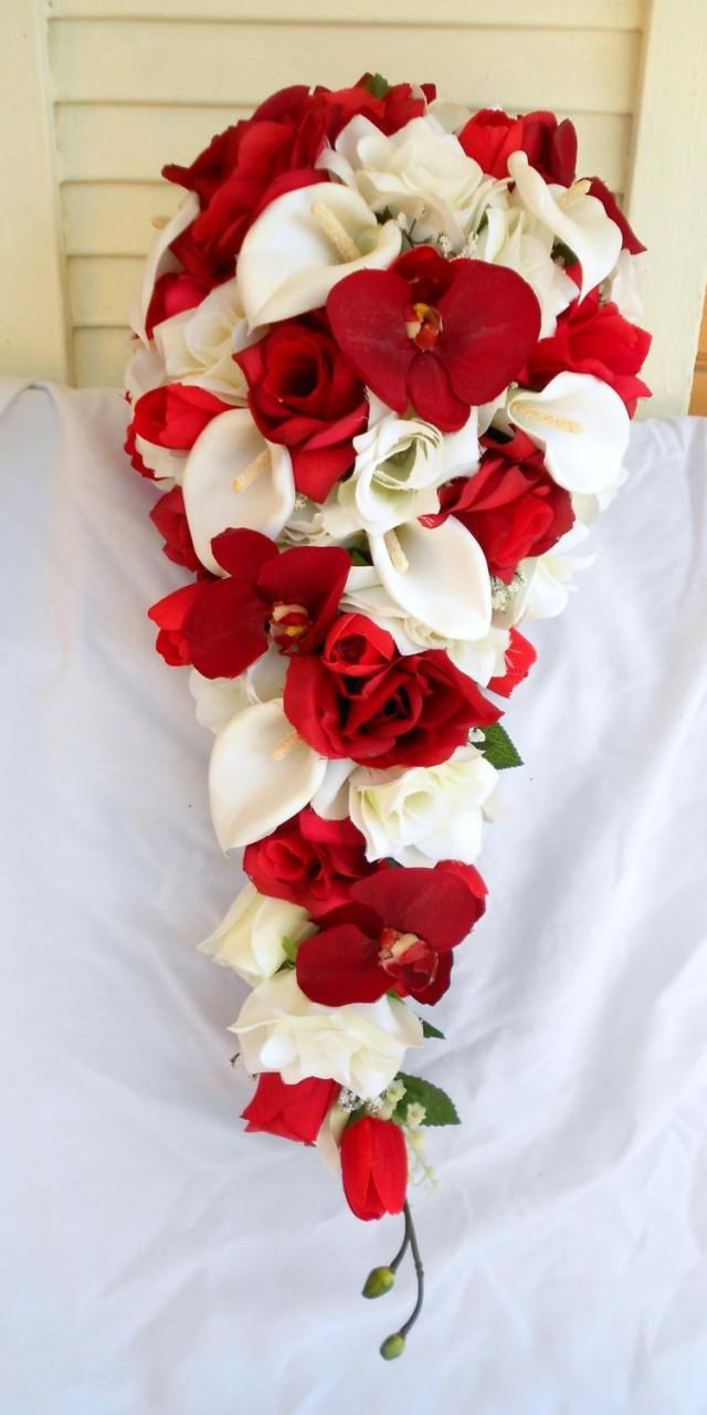 Red Orchids Silk Cascade Bouquet With Ivory Roses And