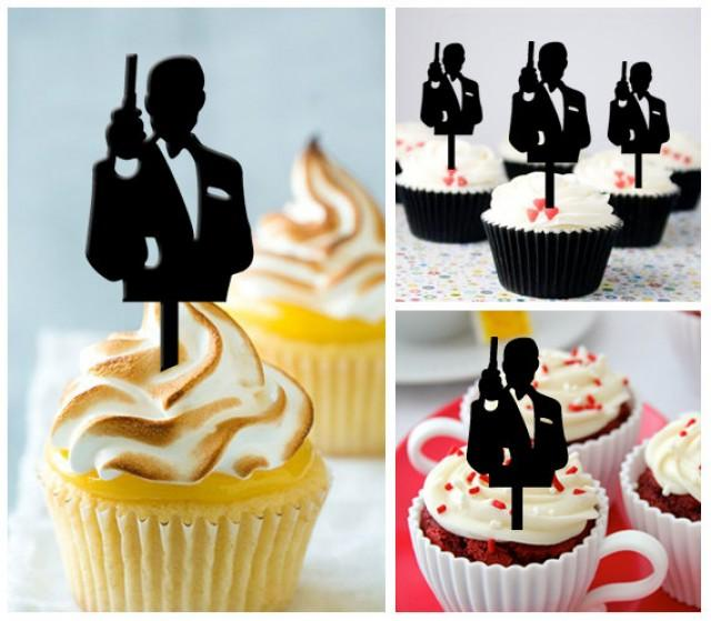 Ca321 new arrival 10 pcs decorations cupcake topper james for Decoration 007