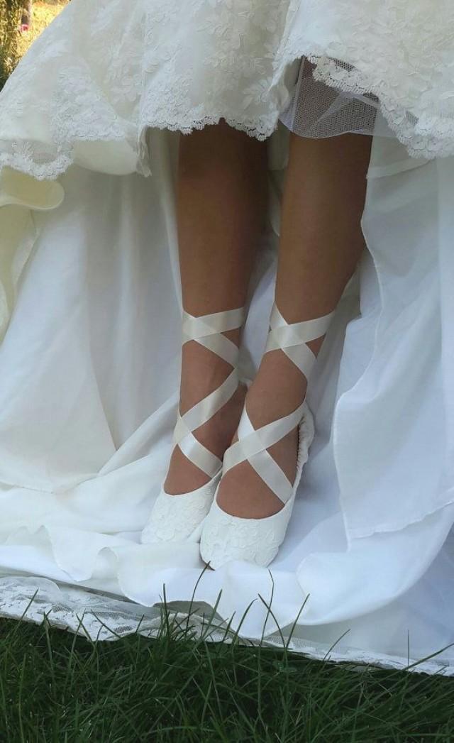 White Lace Ballet Flat Wedding Shoes