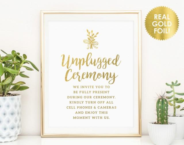 Unplugged Ceremony Signs / Unplugged Wedding Sign / No
