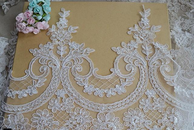 Ivory Lace Trim Floral Lace Fabric Vintage Flower Lace