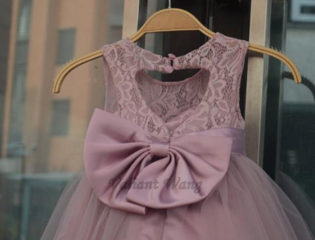 5c9925e9462 Rose Pink Lace Tulle Flower Girl Dress Wedding Baby Girls Dress Big  Sash Bow Rustic Baby Birthday Dress Knee Length