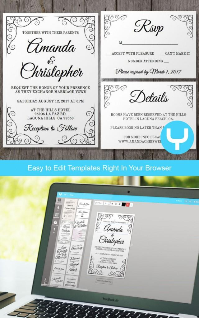 Vintage Printable Wedding Invitation RSVP Template
