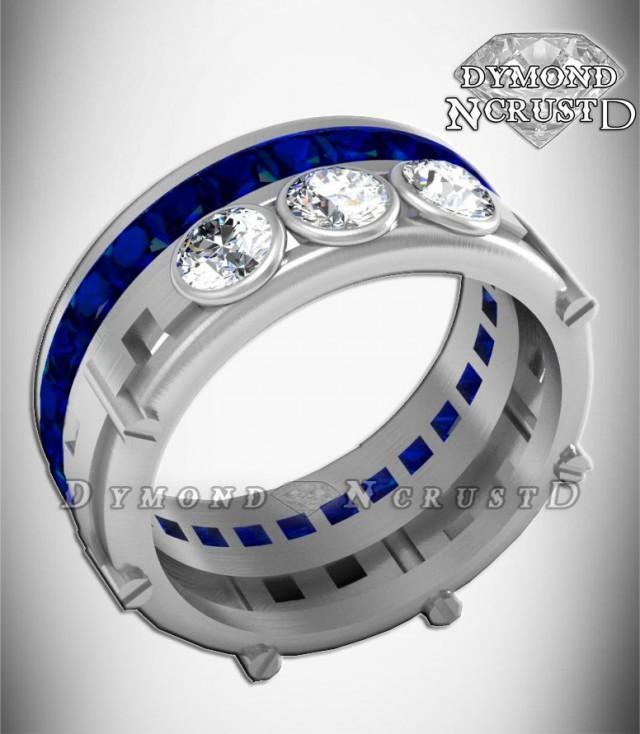 Men S R2d2 Droid Inspired Sapphire Swarovski Amp White