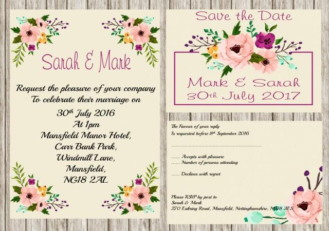 Print Your Own Wedding Invitation: Floral Invitation, Printable Wedding Invitation Set