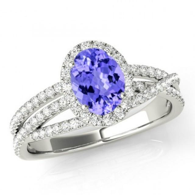 8x6mm Oval Tanzanite & Diamond Multi Row Engagement Ring ...