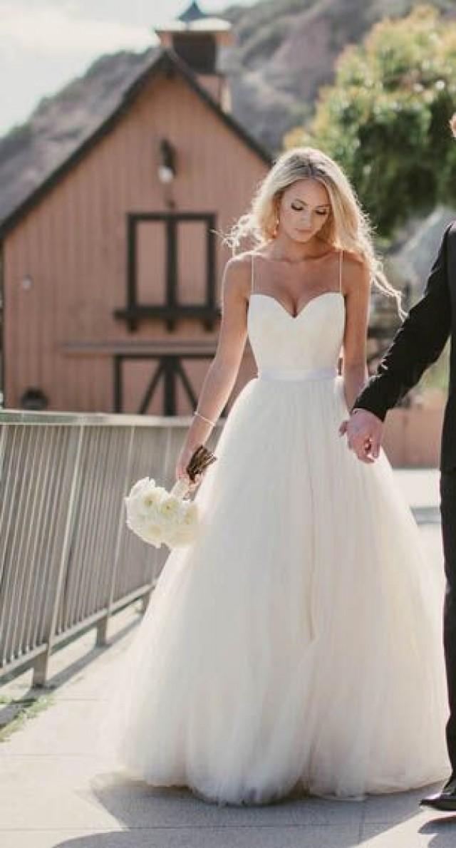 Summer Backless Wedding Dresses Princess Tulle White Open Back Beach ...