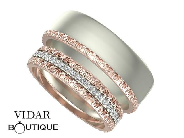 Diamond Matching Wedding Band Set Unique Matching Rings