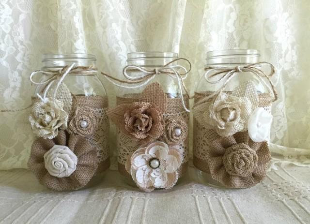 3 Burlap And Lace Mason Jar Vases Wedding Bridal Shower