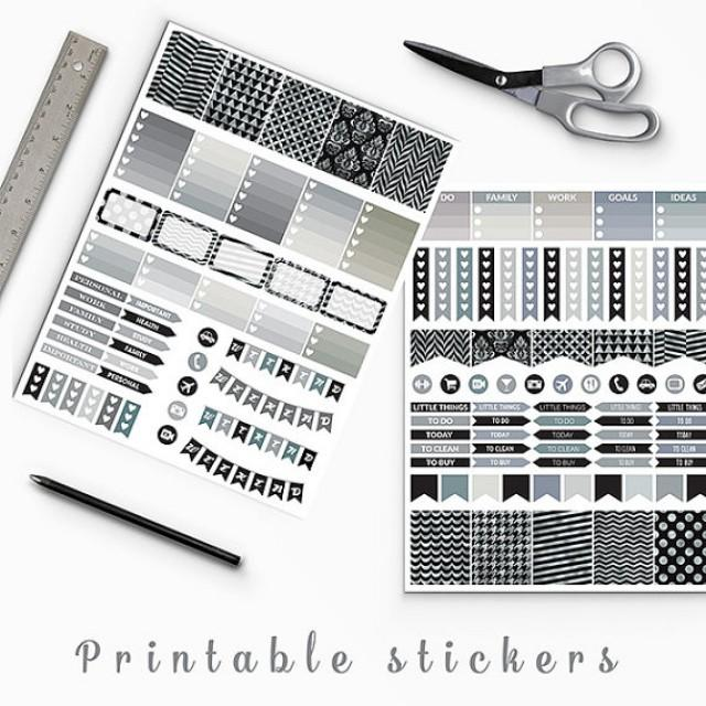 50 Sale Black And Silver Planner Stickers Erin Condren Printable