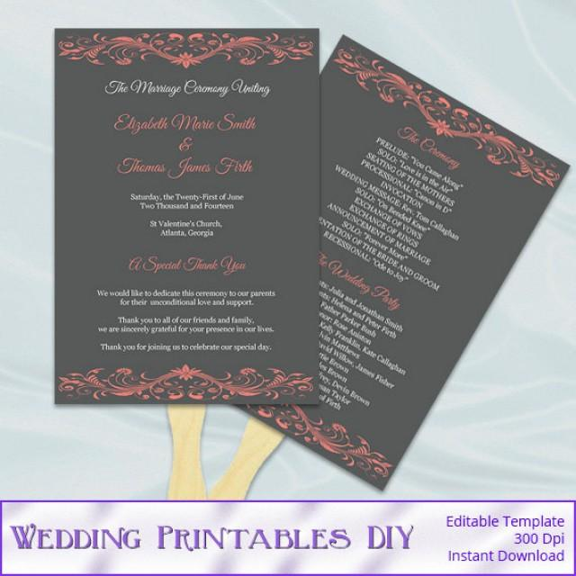 Coral And Gray Wedding Program Fan Template Diy Ceremony Paddle Fans Printable Programs Editable Text Instant Download Word Pdf P73 2531910